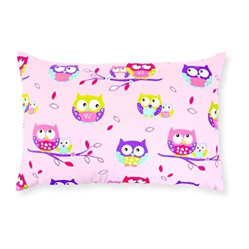 Amilian®, Federa decorativa per cuscino 40 x 60 cm motivo Gufo Rosa