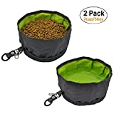 AYADA Collapsible Dog Travel Bowls Large,Portable Pet Travel Bowls Foldable Fabric Canvas for Medium Large Dogs,Waterproof Water Food Travel Bowl with Clip Zipper for Outdoor Camping Hiking (2 Pack)