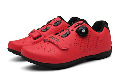Govoland Cycling Shoes Bicycle Road Mountain No Lock Shoes Hard Sole Outdoor/indoor(45, Red)