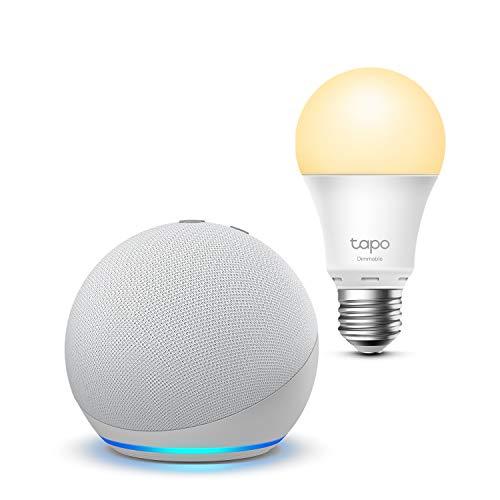 Echo Dot (4.ª generación), Blanco + TP-Link Tapo Bombilla Inteligente (E27), compatible con Alexa