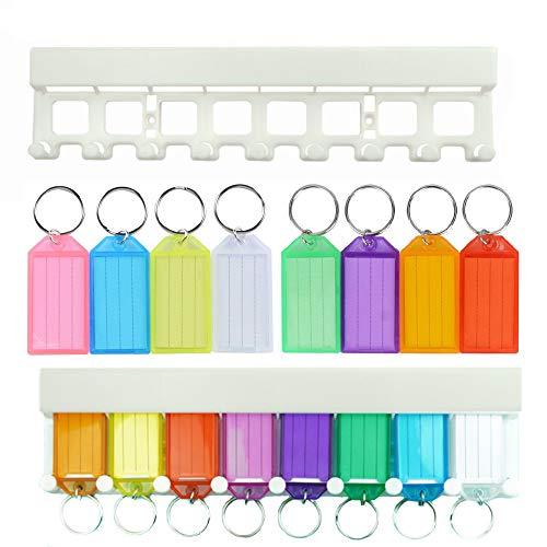 Sweieoni 40 Etiquetas de Plástico Etiqueta de la Llave con Ventana de Etiqueta de Anillo Dividido, Llavero de Plástico, Llavero Mascota Personalizado+ 1 Estante clave, 8 Colores