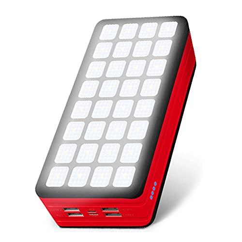 Cargador Solar, como Cargador de Copia de Seguridad Externo con 4 Salidas y entradas y Linterna duales con 32 lámparas LED y batería de Gran Capacidad, para Acampar, Ciclismo