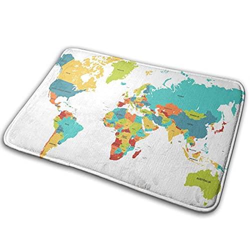 Alfombra de baño para puerta de baño, diseño de mapa del mundo con memoria de espuma frontal, alfombra para cocina interior y exterior de 15,7 x 59,7 cm