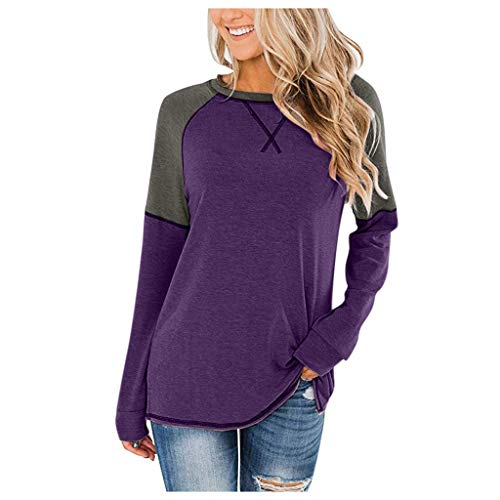SEEGOU Damen Bluse Fashion Slim Fit Tops Lange Ärmel Shirt O-Ausschnitt Carnival Lässige Bluse mit Leopardenmuster Bluse