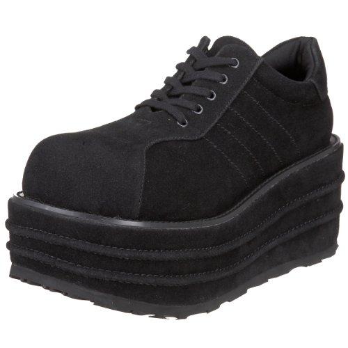 Pleaser Men's Tempo 08 Platform Sneaker ,Black Veggie Suede,7 M US