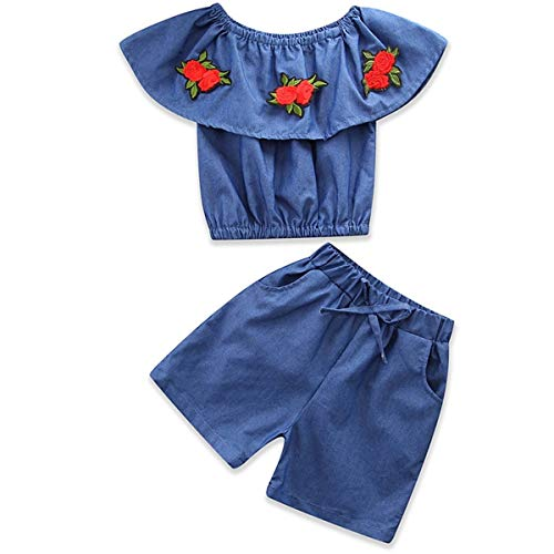 2pcs / Set Enfants Fille Fashion Boat Neck Flouncing Shirt Hauts et Shorts Broderie Fleur vêtements pour Enfants (Color : Denim Blue, Size : 90)