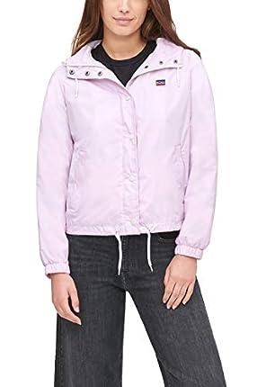 Levi's Retro Hooded Track Jacket Chaqueta para lluvia, rosa pastel, L para Mujer