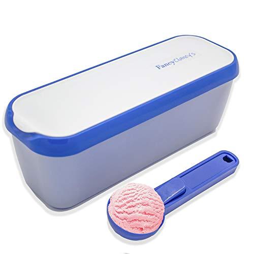 FancyClancy\'s Mehrweg-Eisbehälter mit Schaufel - Isolierte Gefrierschrankaufbewahrungswanne mit rutschfestem Boden Für hausgemachtes Eis, Eiscreme oder Sorbet - 1,5 Liter Fassungsvermögen