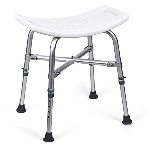 """Giantex Shower Chairs and Benches W/Adjustable Height, Anti-Skip Mat and Aluminum Alloy Frame, Ideal for The Elderly, Senior, Handicap and Disabled Shower Seat (20"""" x 16.5"""" x 16.5""""-22""""(L x W x H))"""