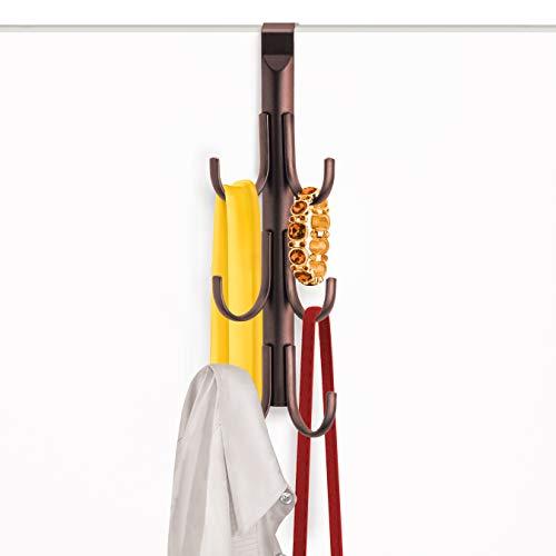 Lynk Over Door 6 Hook Rack - Shirt, Belt, Hat, Coat, Towel Organizer - Bronze