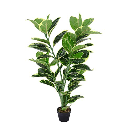 The Fellie Artificial Tree Outdoors Artificial Large Rubber Ficus Plant 120cm 4ft High in Black Pot for Indoor Outdoor Garden
