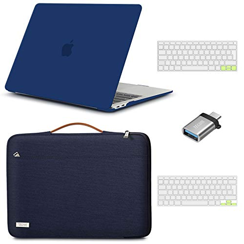 TECOOL MacBook Air 13 inch Case Cover 2020 2019 2018 (Model: A2337 M1/A2179/A1932), Plastic Hard Shell & Sleeve Bag & Keyboard Cover & USB adapter for Mac Air 13.3 Touch ID - Navy Blue & Blue