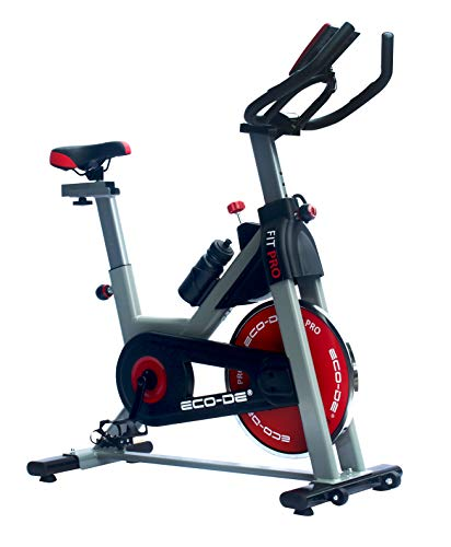 ECODE Bicicleta Spinning Fit Pro. Uso semiprofesional con pulsómetro, Pantalla LCD y Resistencia Variable 18kgrs. Estabilizadores. Completamente Regulable.