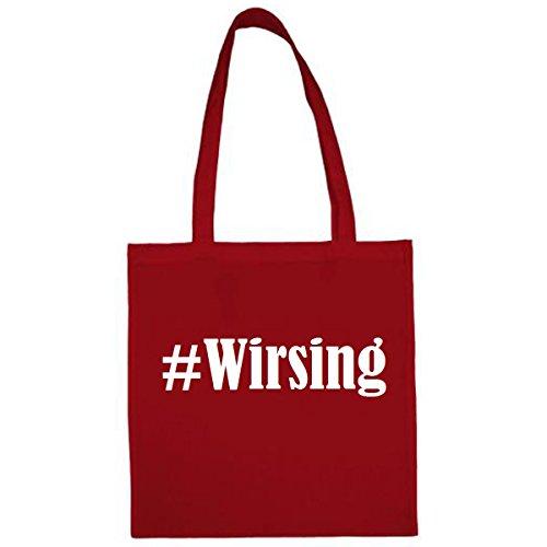 Tasche #Wirsing Größe 38x42 Farbe Rot Druck Weiss