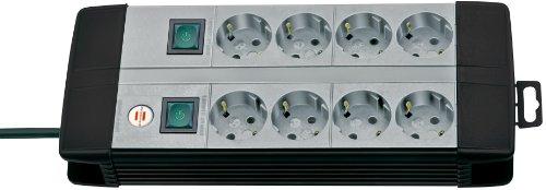 Brennenstuhl Premium-Line Duo regleta de enchufes técnica con 8 tomas de corriente y dos interruptores individuales (cable de 3 m, interruptor iluminado cada 4 tomas, Hecho en Alemania) negro/gris