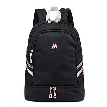 Women Sports Backpack Gym Bag with Shoe Compartment Wet Pocket Travel Backpacks Anti-Theft Pocket Water Resistant Workout Bag  Pink&Black