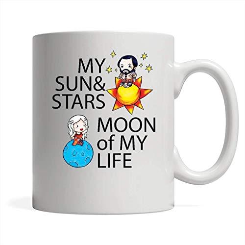 AOOEDM My Sun and Stars Moon Of My Life - Taza blanca de café de envoltura completa, taza de café de Halloween