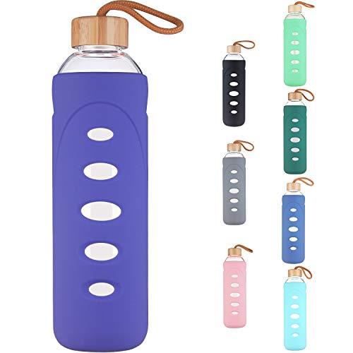 DEARRAY Sport Glas Trinkflasche 400ml / 750ml / 1000ml / 1 Liter, Borosilikatglas Wasserflasche mit Silikonhülle und Einzigartigem Bambus Deckel
