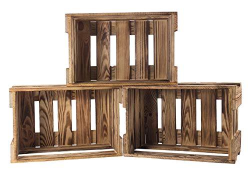 moooble Sparpaket Neue geflammte/gebrannte Weinkiste 46cm x 30,5cm x 24cm Geschenkiste Kiste Präsent Obstkiste(12er Set)