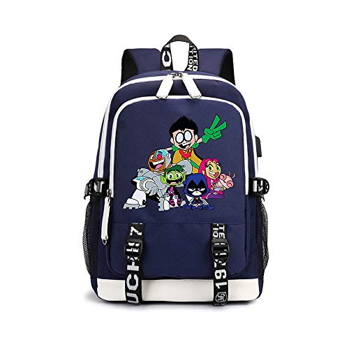 Teen Titans Go Ocio Impreso Mochila Mochila Impermeable Airy de Escolar for niños y niñas Niños (Color : A03, Size : 30 X 15 X 43cm)