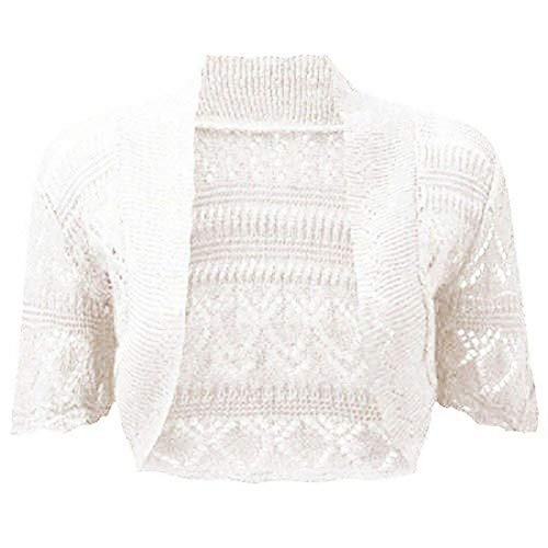 Fashion's island Damen Strickjacke, Einfarbig Schwarz * Gr. Medium/Large 38/40 DE, weiß