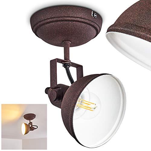 Deckenleuchte Tina, Deckenlampe aus Metall in Rostbraun/Weiß, 1-flammig, mit verstellbaren Strahlern, 1 x E14-Fassung, max. 40 Watt, Retro/Vintage Design