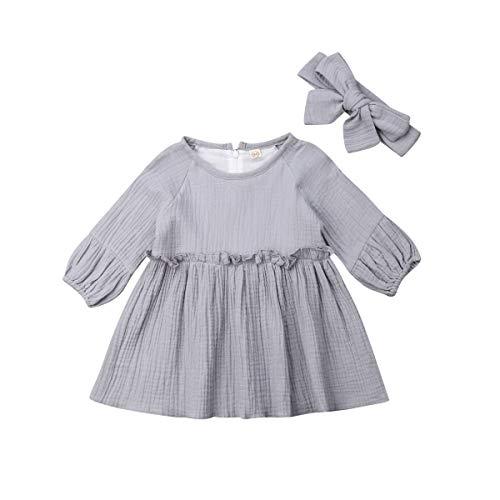 Conjunto de vestidos de manga larga con volantes y botones para niña - - 12 -18 meses