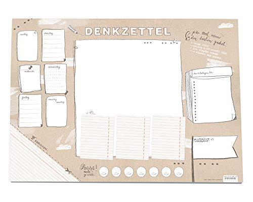 Für Listenfreaks! Große XXL A2 Schreibtischunterlage DENKZETTEL, Papier zum Abreißen, 42x59 cm, 25 Blatt Schreibunterlage Abreißblock, Recyclingpapier klimaneutral