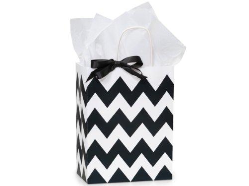 Black & White Chevron Paper Medium Shopper Gift Bag - Quantity of 5