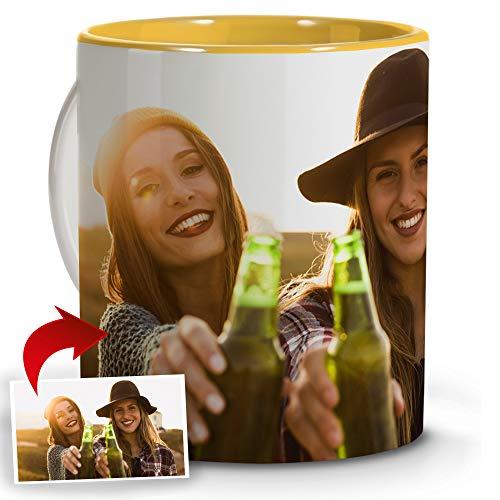 LolaPix Tazas Personalizadas con Foto y Texto. Regalos Personalizados con Foto. Taza Personalizada de cerámica. Taza con Interior de Color Amarillo.