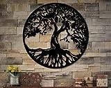Ced454sy Metal Tree of Life - Cartel redondo de metal para pared con diseño de árbol de la vida