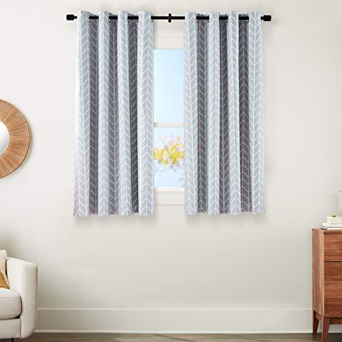 "Amazon Basics Room-Darkening Blackout Curtain Set with Grommets - 52"" x 63"", Light Grey Herringbone"