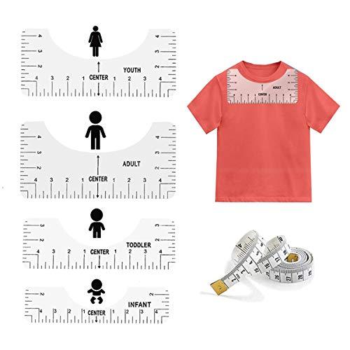 T-셔츠 통치자 안내 맞춤 도구 (5 팩)을 중심 디자인 T-셔츠 성인을 위한 청소년 유아 유아 기술자 제 1 측정 눈금자(투명)