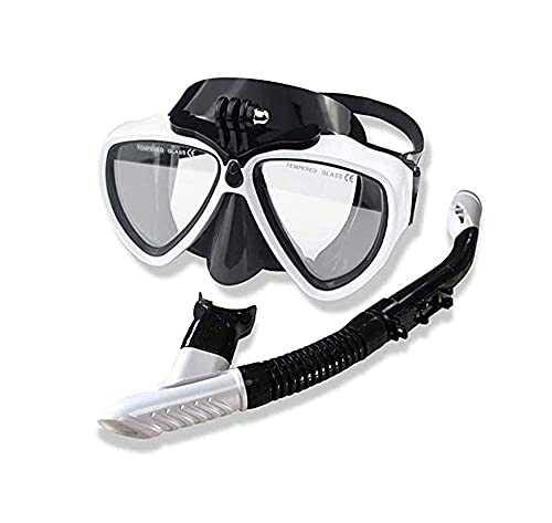 ZOUSHUAIDEDIAN Juego de Snorkel para Adultos, máscara de Snorkel, Engranaje de Snorkel Anti Fugas para Mujeres y Hombres, Anti-Niebla Resistente a la Niebla panorámica de Cristal Templado de Cristal,