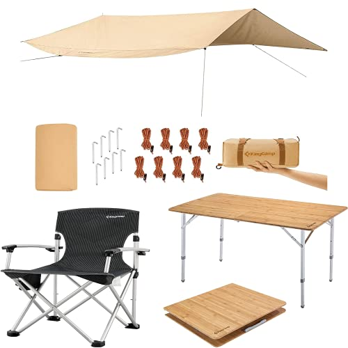 KingCamp Outdoor Camping Folding Chair Lightweight Aluminum Alloy Frame Oversized Padded Lawn Chairs +Bamboo Heavy Duty 176 lbs Environmental Protection Oversize Anti-UV Portable Folding Table+ Tarps