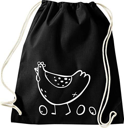 Shirtinstyle Gym Sack Turnbeutel Tiere Tiermotiv Gockel Huhn Eier, Farbe Schwarz