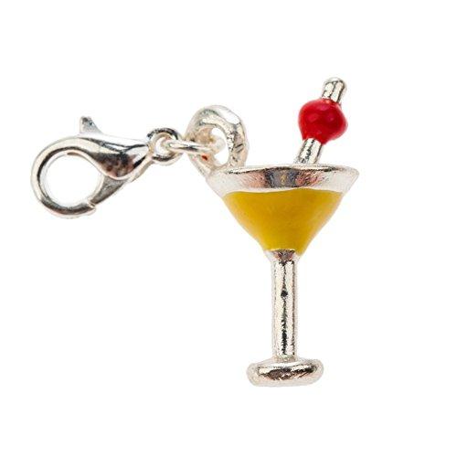 Elegancia vino/cóctel/Martini vidrio con pinza clip On encanto de los para abalorios pulseras en plata, amarillo coloures y cereza rojo VAGA