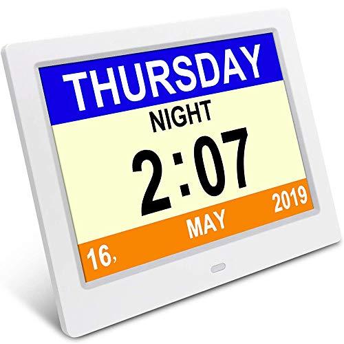 Donnie Timmy Demenz-Tagesuhr, Gedächtnisverlust Digitalkalender-Tagesuhr, mit extra großem Nicht abgekürztem Tag u. Monat. Perfekt für Senioren (White)