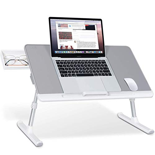 Folding Laptop Bed Table with Portable Book Stand and Drawer Storage Adjustable Laptops Desk for Eating Writing Study and Drawing