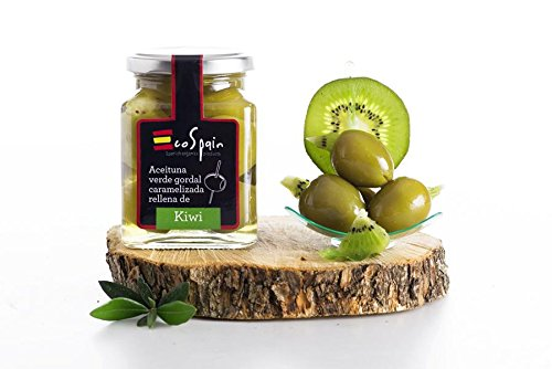 Grüne Oliven Gordal (groß) mit karamellisierten Kiwi gestopft. CAT: I- Größe 80-90.Gourmet Produkt. Nettogewicht 300 gr.