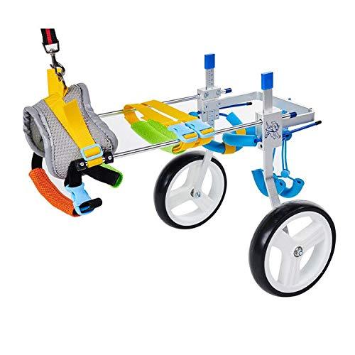 HiHydro - Carrito de ruedas para mascotas con 6 tipos de patas, para perros pequeños, gatos, cachorros, paseos de acero inoxidable XXS-L