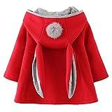 EDOTON Baby Mädchen Mäntel aus Baumwolle Frühlung Herbst Winter Jacken mit Haarballen Kaninchen Ohr Kleinkinder warm Kleidung (9-12 Monate, Rot)