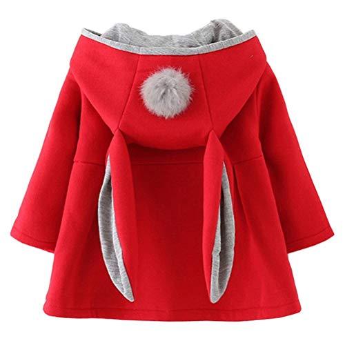EDOTON Baby Mädchen Mäntel aus Baumwolle Frühlung Herbst Winter Jacken mit Haarballen Kaninchen Ohr Kleinkinder warm Kleidung (2-3 Jahre, Rot)