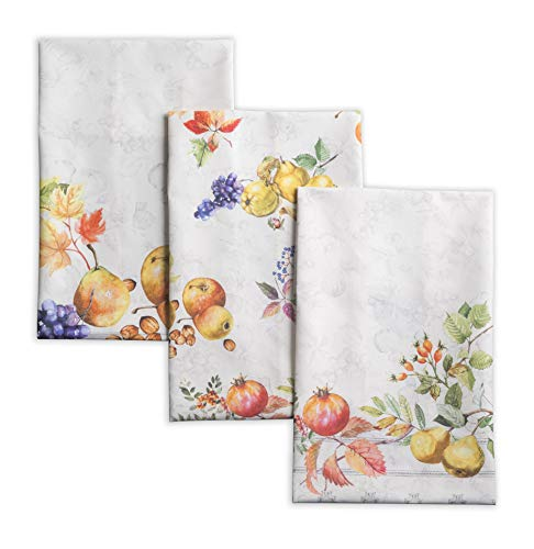 Maison d' Hermine Fruit d'hiver 100% Cotton Set of 3 Multi-Purpose Kitchen Towel Soft Absorbent Dish Towels   Tea Towels   Bar Towels   Thanksgiving/Christmas (20 Inch by 27.50 Inch)
