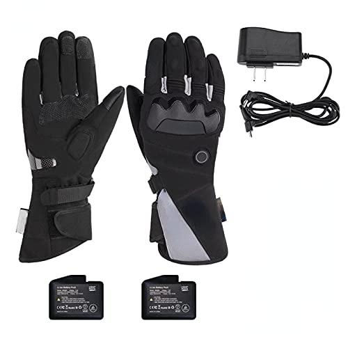 Guantes térmicos de moto con pantalla táctil, guantes de esquí, cálidos de invierno, guantes térmicos de calefacción, recargables, impermeables, para motociclismo, nieve, M BlackA