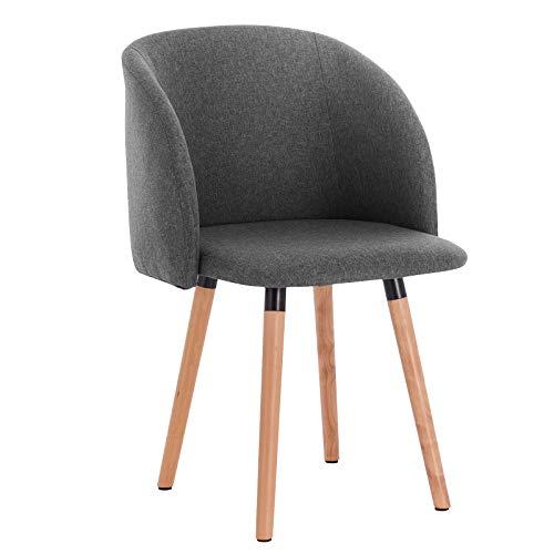 WOLTU Esszimmerstühle BH120dgr-1 1x Küchenstuhl Wohnzimmerstuhl Polsterstuhl Design Stuhl mit Armlehne, Sitzfläche aus Leinen, Gestell aus Massivholz, Dunkelgrau