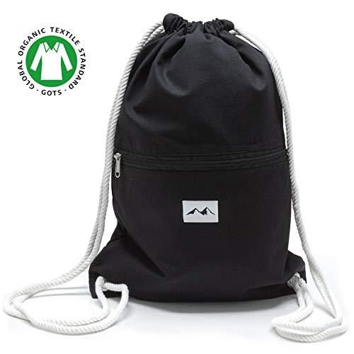 Santa Perago NEU Turnbeutel schwarz aus 100% Bio Baumwolle GOTS - als Sportbeutel oder Rucksack für Damen & Herren mit Außentasche und mit Reißverschluss - in 8 hochwertigen Designs
