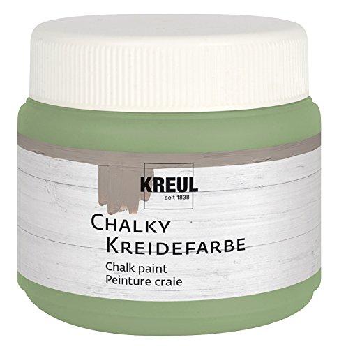 Kreul 75318 - Chalky Kreidefarbe, Velvet Olive in 150 ml Kunststoffdose, sanft - matte Farbe, cremig deckend, schnelltrocknend, für Effekte im Used Look
