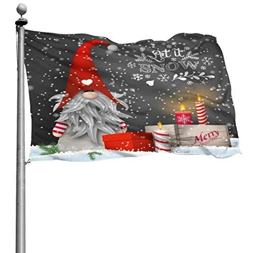 Feliz Navidad Gnomo Regalos de Navidad Bandera de copos de nieve de invierno 4x6 Ft Banner decorativo para exteriores Bandera estándar colgante exterior