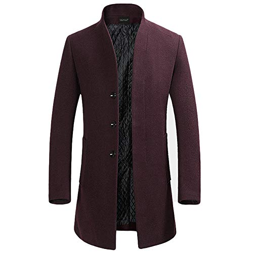 YOUTHUP Herren Wollmischung Mantel Slim fit Warmbody Windbreaker Business Winter Jacke, Rot(design 2), M